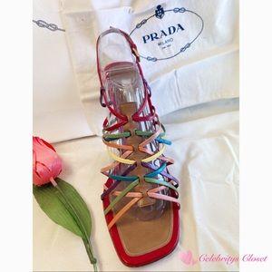 "$DROP-PRADA 4"" Rainbow Leather Strap Heel Shoes 39"